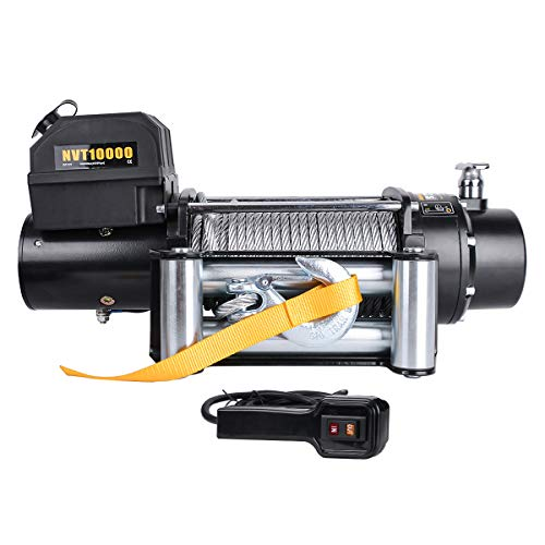 Waterproof 10000Ibs 12V Electric Winch with Safer Cored Remote and