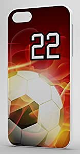 Flaming Soccer Sports Fan Player Number 22 White Rubber Decorative iPhone 5c Case