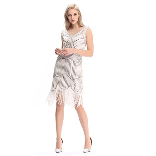 Pilot-trade Women's 1920s Gatsby Vintage Flapper Sequin Party Fancy Dress White -