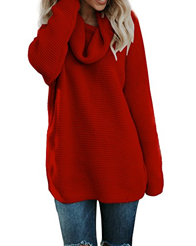 - Pxmoda Women's Casual Long Sleeve Turtleneck Knit Sweater Chunky Oversized Pullover Jumper (L, Red)