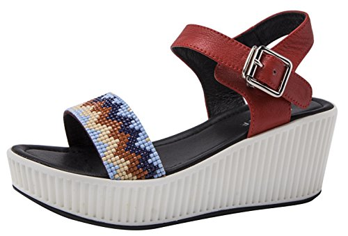 CAIHEE Womens Summer Casual Metal Decorative Strap Fashion High Platform Sandals Red