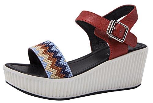 CAIHEE Women's Summer Casual Metal Decorative Strap Fashion High Platform Sandals (7.5 B(M)US,red) (7.5 B(M) US, (Mystique Studded Sandals)
