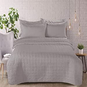 King Size, Polyester,Solid Pattern, Gray - Comforter Sets