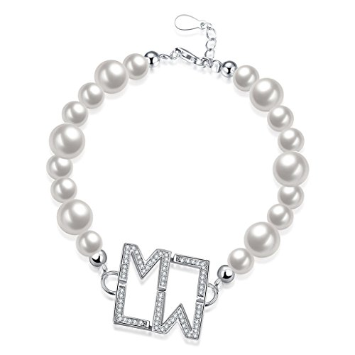 HMILYDYK Freshwater Pearl Bracelet Swarovski Element LW Crystal Cubic Zirconia 925 Sterling Silver for Women