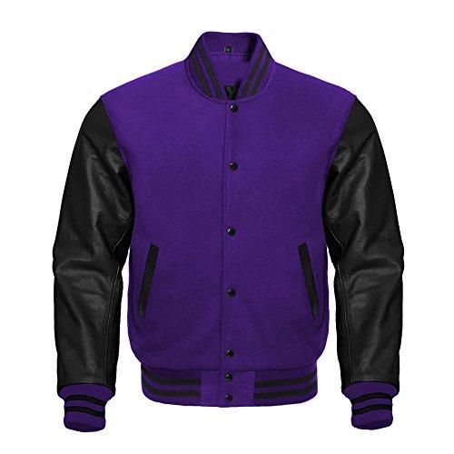 Premium Letterman Baseball School College Bomber Varsity Jacket Wool Purple & Black Genuine Leather Sleeves (Purple/Black, XSmall)