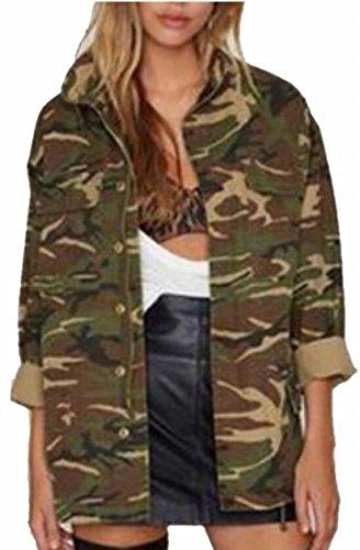 Jaycargogo Women's Lapel Long Sleeve Camo Print Boyfriend Button Front Shirt Coat 1 L -