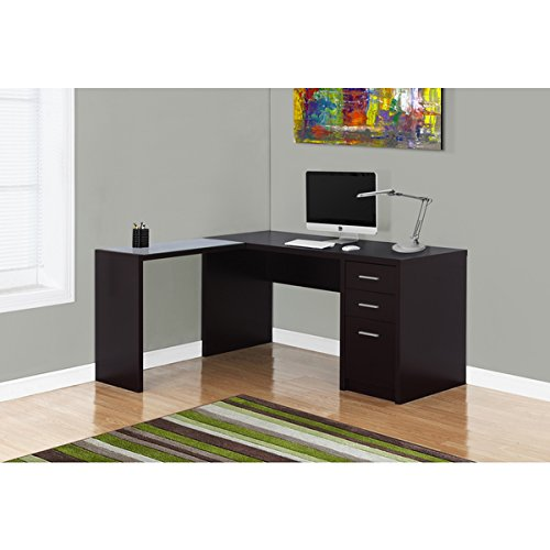 Cappucino Finish Tempered Glass Top Corner Desk, L-shaped computer desk features three drawers for storage