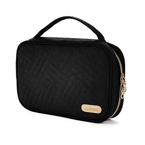 SIMBOOM Travel Jewelry Carrying Case Jewelry Organizer Handbag for Rings, Earrings, Necklaces, Bracelets, Brooches - Black