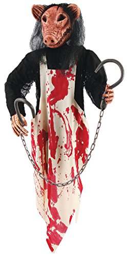 UHC Scary Haunted House Butcher Pig Hanging Party Decoration Halloween Prop ()