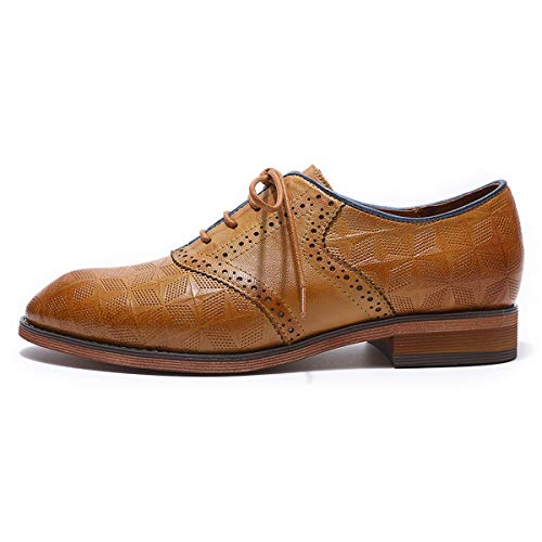 For Brougue Shoes Wingtip up Perforated Women's Multicolor Oxfords Brown Women Lace Mikcon Leather AfpwUAq