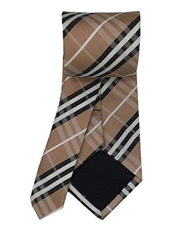 Di Business Uomini Legami Cravatta Tessuta Marrone Mendeng Classico Controllo Seta Plaid Degli pzIntZYq