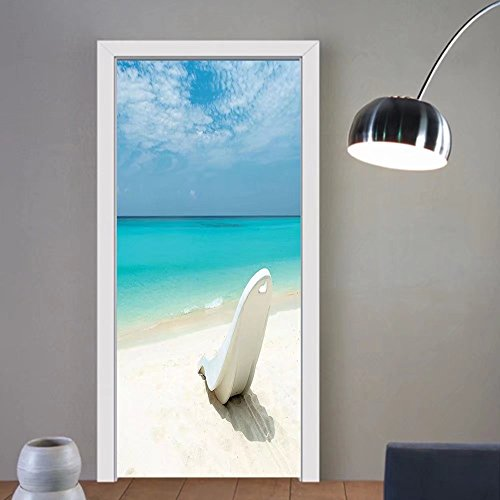 Gzhihine custom made 3d door stickers Seaside Decor Maldivian Beach Sun Bed At The Seashore Sunny Day Travel Destination Picture Decor Turquoise Off White For Room Decor 30x79 by Gzhihine