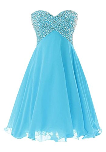 Blue Chiffon Short Dress Drasawee Gown Homecoming Bridesmaid Junior Prom Party Ball FBvwq