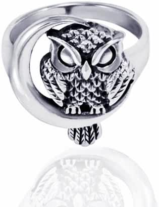 925 Oxidized Sterling Silver Detailed Midnight Owl with Crescent Moon Ring - Nickle Free