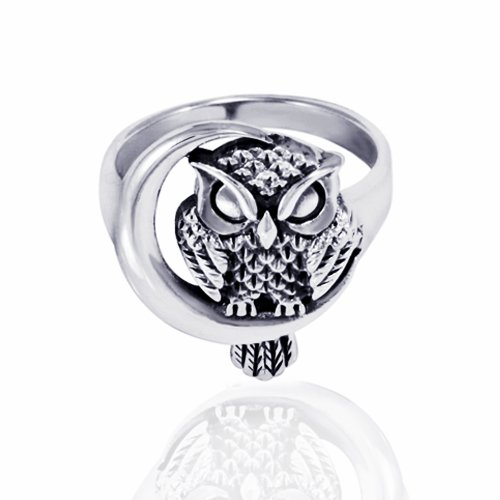 Chuvora 925 Oxidized Sterling Silver Detailed Midnight Owl with Crescent Moon Ring - Nickle Free Size 9