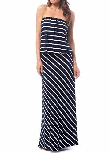 Olivaceous Women's Stripe Jersey Maxi Dress M Navy Blue