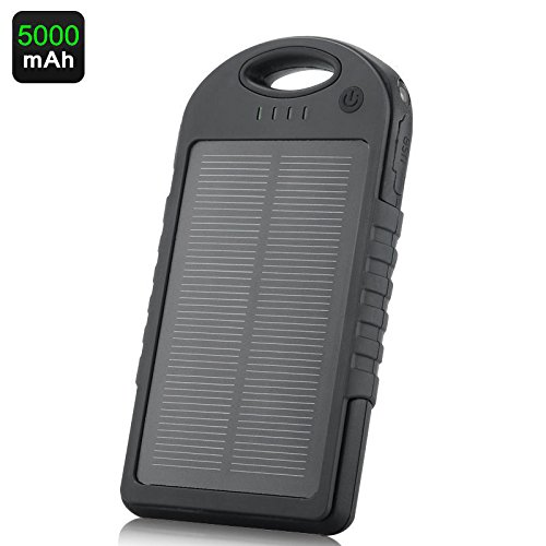 5,000mAh Portable Solar Power Bank Charger, Battery Pack, 2 USB Port, Water Resistant, Phone Cable, External Battery Backup +led Flash Light, Works with Any Cell Phone, Smart Phone Tablet, Laptop