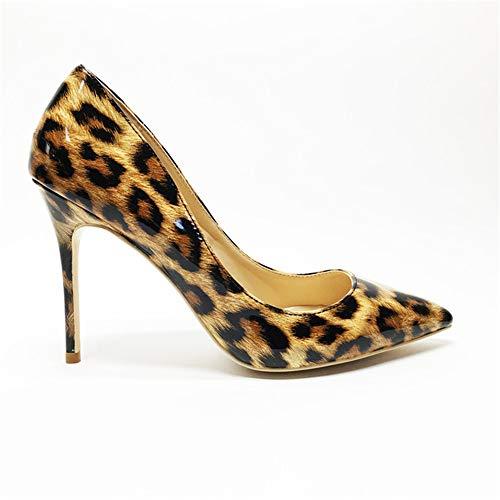 LXLDH Sexy Women Thin high Heels Patent Women Pumps Party Shoes(Leopard 8cm,9)