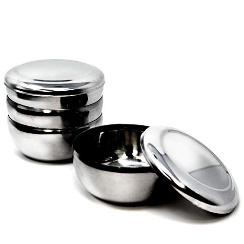 Eutuxia Korean Stainless Steel Rice Bowl + Lid, Set of 4. Traditional, Hygienic, Round & Unbreakable. Keep Rice or Soup Warm w/Metal Bowl. Perfect for Restaurants & Home. Made in Korea. 스텐밥공기 (The Best Korean Restaurant)