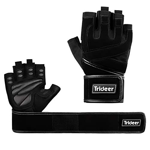"(Trideer Weight Lifting Gloves with 18"" Wrist Wraps Support, Pro Padded Gym Gloves for Powerlifting, Cross Training, Workout, Best for Men & Women (Pair) (Black, S (Fits 6.7-7.5 Inches)))"