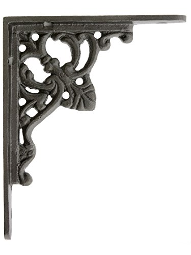 House of Antique Hardware R-010SE-50018-AI Cast Iron Fleur De Lis Shelf Bracket in Antique Iron