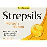 Strepsils, Fast and Effective Relief for Sore Throats, Honey & Lemon, 24 Count