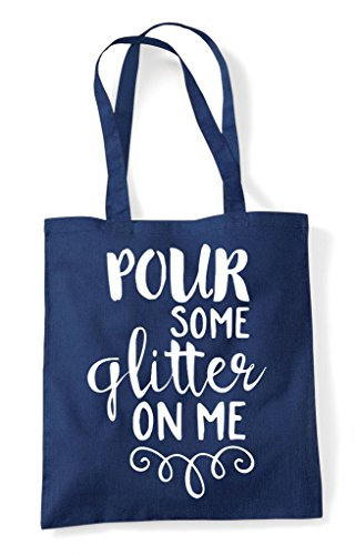 Statement Navy Me On Glitter Tote Bag Pour Some Shopper zwTaII