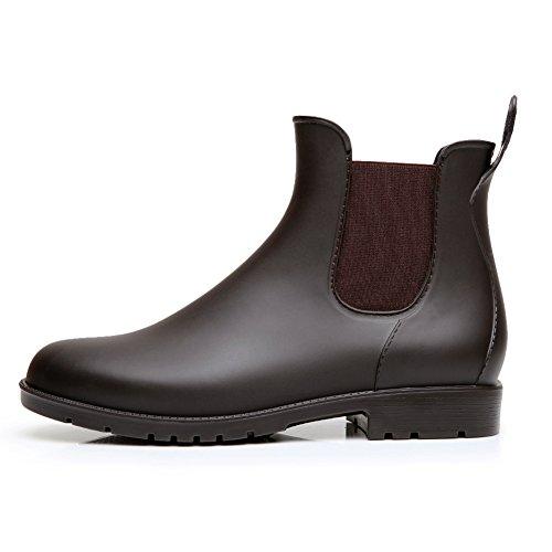 17KM Women's Black Ankle Rain Shoes Anti Slip Short Rain Boots Slip On Waterproof Chelsea Boots Brown