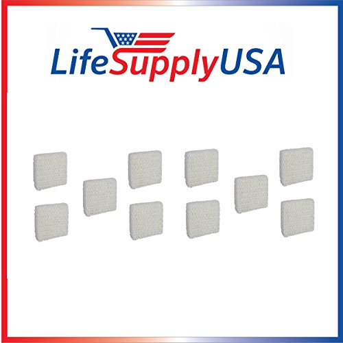 LifeSupplyUSA 10 Pack Humidifier Filter Compatible with Sears Kenmore Humidifier 14803 14804 Wick Filter. Compatible with Sears Kenmore Models 14804, 14103, 14104, 14113, 14114, 14121 and 14122 (Humidifier Filters Kenmore 14114)