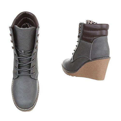 Lacet Compensé Chaussures Et B1505 kb Bottines Bottes Femme A Ital design Gris 68wqf