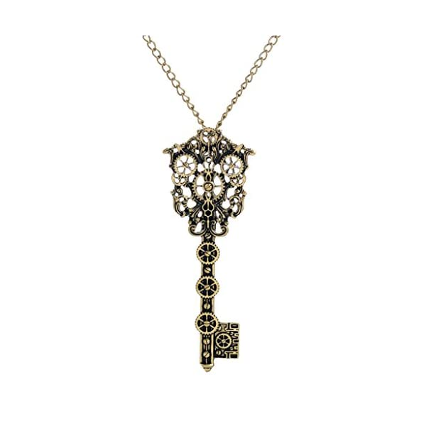 MonkeyJack Steampunk Key Necklace Vintage Victorian Skeleton key Pendant Gothic Jewerly 3