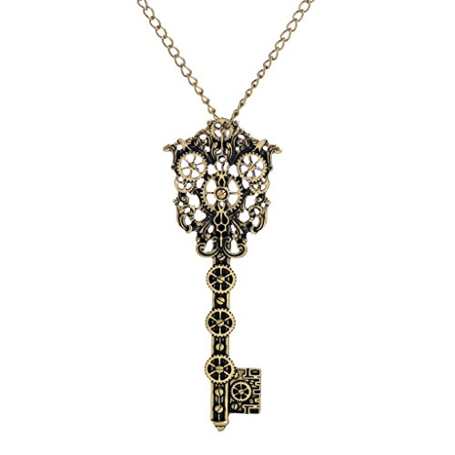MonkeyJack Steampunk Key Necklace Vintage Victorian Skeleton key Pendant Gothic Jewerly
