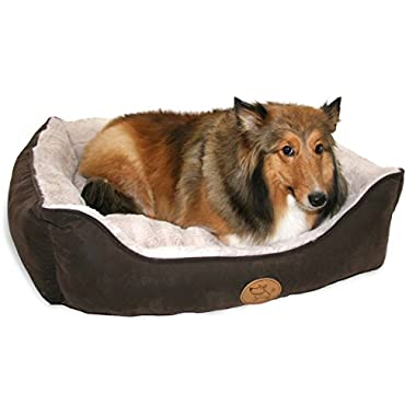 Best Pet Supplies Faux Leather Square Bed - XX-Large, Dark Brown (XXL)