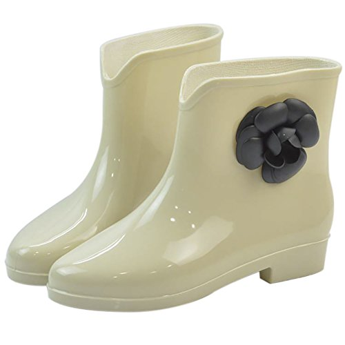 Ankle Waterproof Slip Rubber Boot High Anti Jelly Apricot Rain Flower Shoes Rain Women's Buckle pw8dqCp