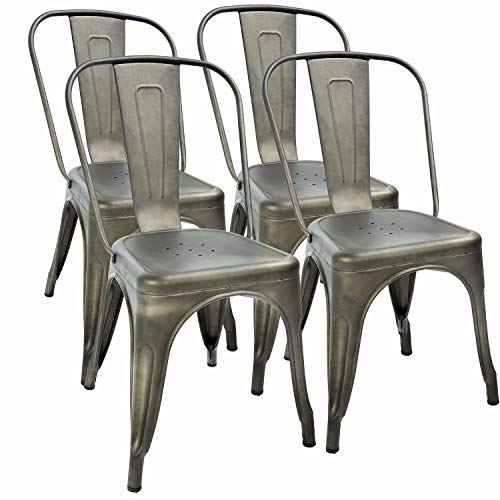Metal Dining Chairs Set of 4 Indoor Outdoor Chairs Patio Chairs 18 Inch Seat Height Metal Restaurant Chair Stackable Chair 330LBS Weight Capacity Kitchen Chairs Tolix Side Bar Chairs (Restaurant Chairs Outdoor)
