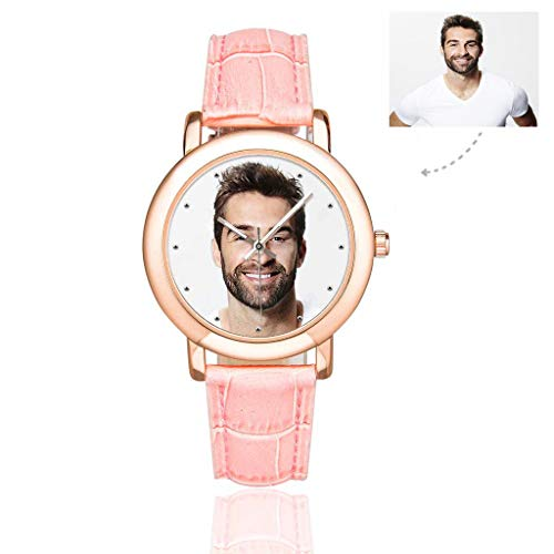 Personalized Graphic Photo Face Watch Rose Gold-Plated Pink Leather Strap Watches for Women/Your Girlfriend/Wife (Photo Watch)