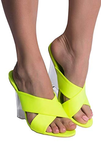 CAPE ROBBIN Crossover Straps Peep Toe Acrylic Perspex Wedge Mule SandalsLIME_7