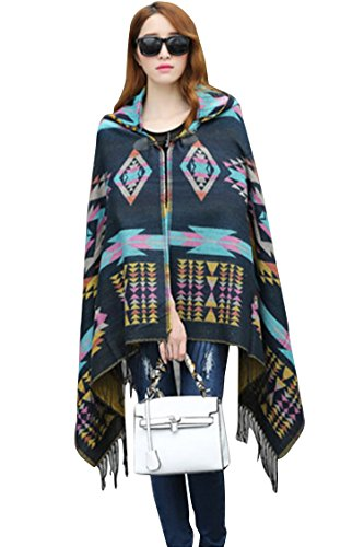 VamJump Women Winter Hooded Tassel Plaid Ponchos and Capes Crdigan Blue