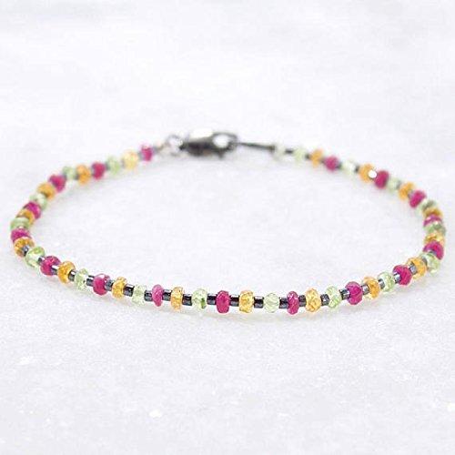 JP_Beads Multi Gemstone Bracelet, Padparadscha Sapphire, Pink Sapphire, Peridot, Gemstone Bracelet, Healing Bracelet 2.5mm