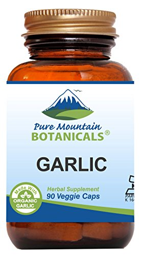 Garlic Pills - 90 Kosher Vegan Capsules with 500mg Organic Garlic Allium Sativum Supplement