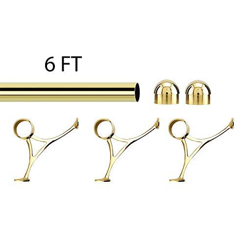 (KegWorks Bar Foot Rail Kit - Polished Brass - Includes: 2
