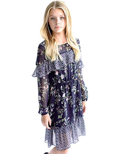 Smukke, Big Girls Tween Printed A-Line Long Sleeve Dress with Ruffles (Many Options), 7-16 (Navy Multi, 14)