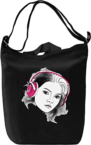 Girl with Headphones Borsa Giornaliera Canvas Canvas Day Bag| 100% Premium Cotton Canvas| DTG Printing|
