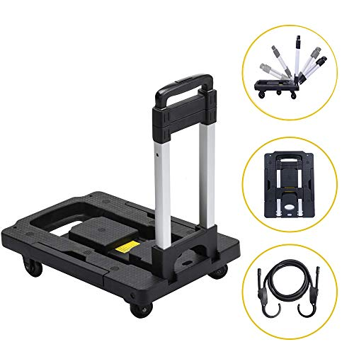 - OKAWA DACH Folding Hand Truck with Maximum Load-Bearing 300 lbs, 5-Wheel Folding Trolley 360° Rotating with Locked Casters Trolley, Complimentary Adjustable Bungee Cord for Travel, Shopping, etc.