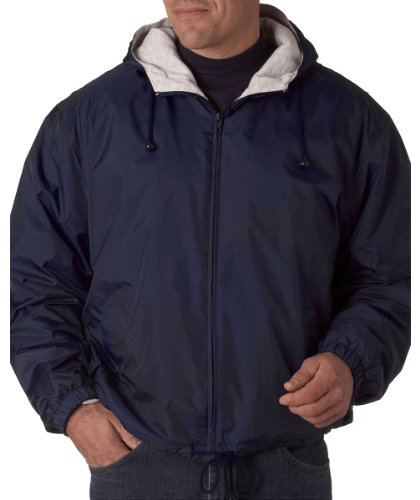UltraClub Mens Fleece-Lined Hooded Jacket (8915) -NAVY -L by UltraClub