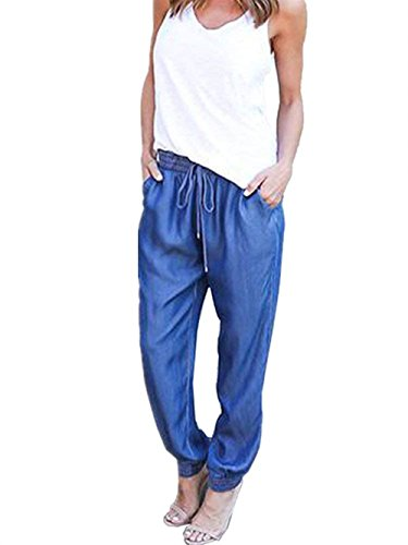 Tempo Pantaloni Libero Casual di Donna Marine Waist Eleganti Primaverile Mode Jeans Due Jogging Pantaloni Autunno Pants Moda High Pants Pantaloni marca Dei Tasche Monocromo Con Pantaloni 0FFxwf