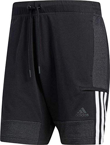 adidas Men's Sports ID Cotton Shorts (Large R, Black) (Jersey Adidas Cotton)