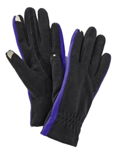 Isotonerスマートタッチ女性用ブラック&ブルーフリーススマートタッチグローブショートメッセージ& Tech手袋