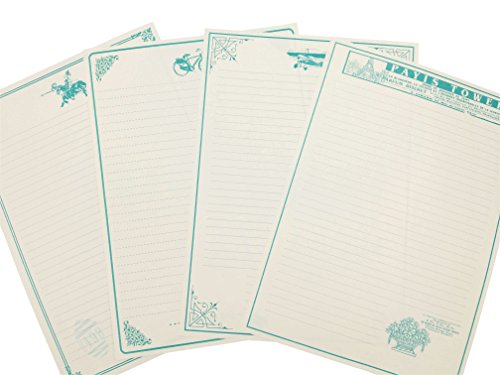 Eternityfing Classical Blue-green Lined Writing Paper Stationary Paper Sets-32 -