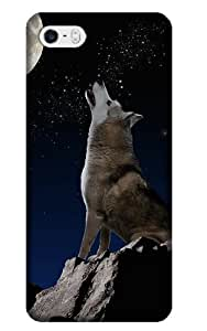 Jakeselling design animal-wolf howling at moon cellphone cases for Iphone 5 5s